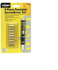 Rolson 9 in 1 Precision Screwdriver Magnet Bit Set - Twist Cap Storage 28226