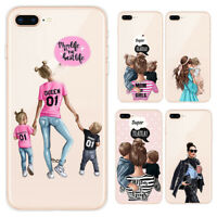 Cartoon Baby Mom Printing Soft Phone Case  For iPhone X XS Max XR 8 7 6 6s Plus