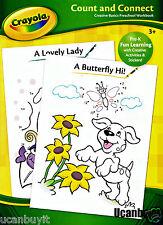 Crayola COUNT and CONNECT Preschool Workbook w/Reward Stickers Age 3+ Grade PreK