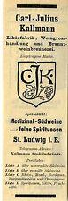 Carl-Julius Kall Uomo St. Ludwig I. E. liquori fabbrica storica la pubblicità 1912