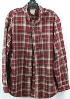 L.L. BEAN men's M vtg style RED FLANNEL PLAID SHIRT Long-sleeve