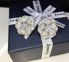 14k White Gold Rose Shape Earrings made w Swarovski Solitaire Diamond Stone Wed