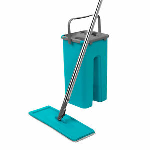 Beldray® LA067234EU Duplex Flat Head Mop & Bucket Set | Built-In Wringer/Scraper
