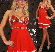 SeXY MiSS Damen Neck Mini Kleid Chiffon Pailletten Dress rot silber 34/36/38