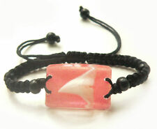 Real Shark Tooth Teeth Charm Bracelet Surfer Tropical Sea Pink - L1514H02