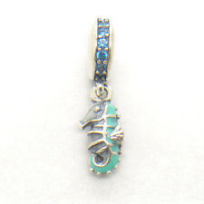 Authentic S925 Silver Hanging Enamel Teal CZ Tropical Seahorse Charm