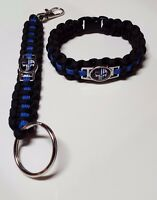 """Police TBL Punisher Paracord Bracelet & 5"""" Deluxe Key Chain w/ Lobster Clasp Set"""