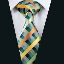 Green Yellow Mens Tie 100% Silk Necktie Plaid Check Jacquard Woven Business A218