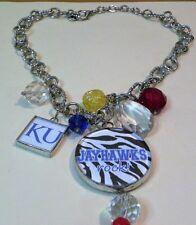"Red White Blue KU Jayhawks Rock Pendant 3.5"" - Necklace 20"" Bobbles & KU Charm"