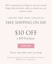 VS PINK Victoria Secret coupon code $10 off $50 exp 11/03