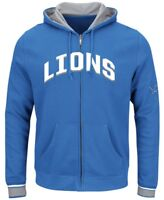Detroit Lions NFL Majestic Mens Full Zip Anchor Point Hoodie Blue Size 6XL