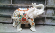 8'' White Marble Elephant Statue Hakik Figurine Inlaid Trunk Up Decor Gift H3368