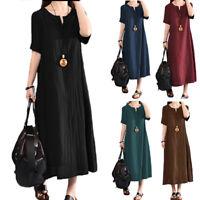 Womens Plus Size Baggy Short Sleeve Cotton Linen Tunic Maxi Dress Loose Sundress