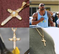 Herren Kreuz Kette Gold Edelstahl Halskette Anhänger Königskette Dwayne The Rock