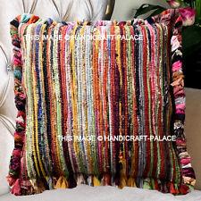 "24"" Big Multi Chindi Rag Rug Decorative Throw Pillow Cushion Cover Indian Decor"