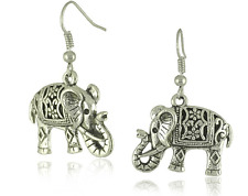 Vintage Tibet silver carved elephant earrings sided for women