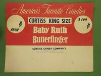 """Vintage Store Display ADVERTISING BABY RUTH BUTTERFINGER Curtiss Candy 12 1/2"""""""