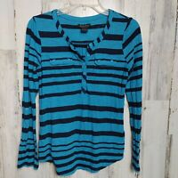 Lucky Brand Women's Small Casual Top Pink 3/4 Sleeves Blue Striped V-Neck