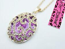 New Betsey Johnson Fashion jewelry Purple Crystal Pendant Necklace