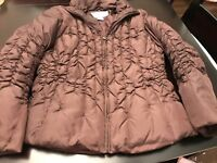 Nine West Ladies Brown Jacket Down Filled Size L Lightly Worn