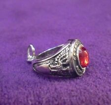 NEW~Sterling Silver High School Class Ring Charm w/ Faceted Ruby Red Stone