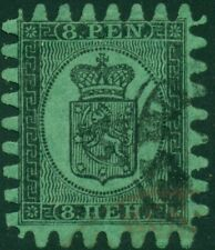 Finland #7 8 pen green, roulette Iii, used, Huge Stamp w/perfect teeth