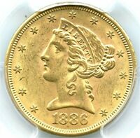 1886-S $5 Gold Liberty Half Eagle, PCGS MS-63, Original and Flashy Gold Coin!