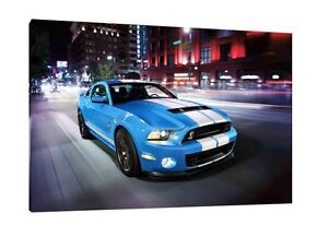 Ford Mustang GT500 - 30x20 Inch Canvas - Framed Picture Wall Art Print