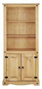Corona 2 Door Bookcase Display Unit - Mexican Solid Pine, Rustic, Distressed