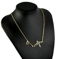 Fashion Women Lovely Heart Beat Pendant Necklace Metal with Choker Chain Jewelry