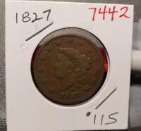 1827 Coronet Head Large Cent 7442