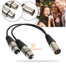XLR 3 Pin Male to 2 XLR Female Y Splitter Connector Microphone Extension Cable