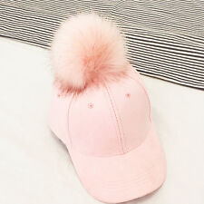 Women Faux Fox Fur Pompom Ball Suede Adjustable Baseball Cap Hip-Hop Hat Winter