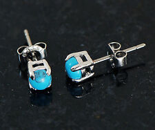 Pair 4MM Semi Precious Turquoise Stone 316L Surgical Steel Earrings Ear Studs