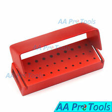 AA Pro: 30 Holes Dental Aluminum Bur Burs Holder Box Autoclave Red Color DN-2085