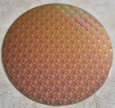 """Very Rare Copper 12"""" Ic Microchip Silicon Pattern Wafer with Blue Background"""