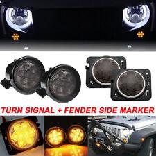 LED Turn Signal+ Side Marker Fender Light Smoked Lens For Jeep Wrangler JK 07-17