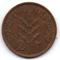 Palestine 2 Mils 1946 British Mandate rare coin.