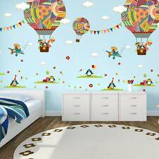 Wandtattoo Kinderzimmer Ballon Junge Mädchen Deko Tiere Flugzeug Wolken Pinguin