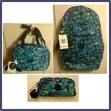 NWT Kipling Seoul Go XL Laptop Backpack + Pencil Pouch + Lunch Bag Neon Frills