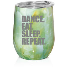 Marble Stemless Wine Tumbler Coffee Travel Mug Cup Glass Dance Eat Sleep Repeat