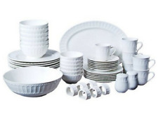 White Dinnerware Set 46 Piece Kitchen Dining Dishes Plates Saucers Bowls Cups