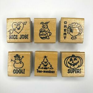 Cool Great Wow Super Nice Job Wood Mounted Rubber Stamps Set of 6 Teacher