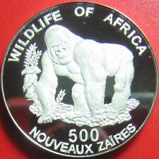 1996 ZAIRE 500 ZAIRES DEEP CAMEO SILVER PROOF GORILLA AFRICAN WILDLIFE SUPERB!