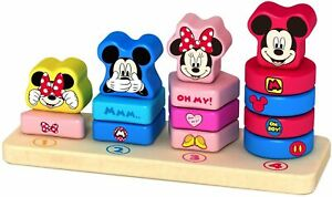 DISNEY BABY MICKEY & MINNIE MOUSE WOODEN COUNTING STACKER NEW