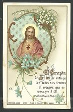 Holy card antique del Sagrado Corazon de Jesus santino image pieuse