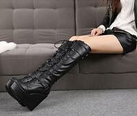 Ladies UK black or white pu leather wedge heels knee high boots shoes size 3 5 6