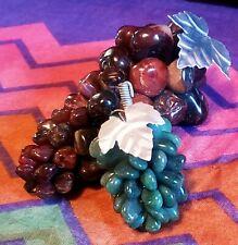 Vintage Hand Carved Jade & Agate Grapes Genuine Stone w/ wire metal stem & leaf