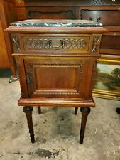 Antique Carved Walnut Marble Top Side Table - Drawer Cabinet - Nice