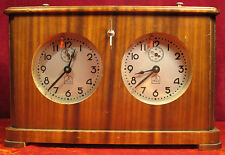 Soviet Chess Clock Working! 3 Moscow Watch Factory NUTWOOD Box Russian VTG 1954